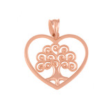 Rose Gold Tree of Life Open Heart Filigree Pendant Necklace