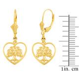 Yellow Gold Tree of Life Open Heart Filigree Earring Set