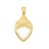 Yellow Gold Great White Shark Jaws Pendant Necklace