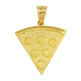 Yellow Gold Pizza Slice Friendship Pendant Necklace