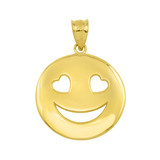Yellow Gold Heart Eyes Smiley Face Pendant Necklace