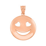 Rose Gold Heart Eyes Smiley Face Pendant Necklace