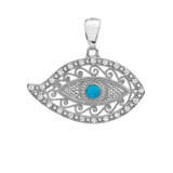 Sterling Silver Evil Eye Cubic Zirconia Pendant Necklace With Turquoise Center Stone
