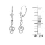 14K White Gold Treble Clef Musical Symbol Earring Set