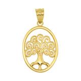 Yellow Gold Tree of Life Filigree Swirl Celtic Pendant Necklace