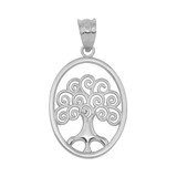 Sterling Silver Tree of Life Filigree Swirl Celtic Pendant Necklace
