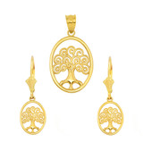14K Yellow Gold Tree of Life Filigree Swirl Celtic Pendant Necklace Earring Set