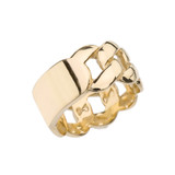 Yellow Gold Personalized ID Engravable Cuban Link Band/Ring