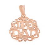 Solid Rose Gold Super Dad Filigree Pendant Necklace