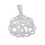 Sterling Silver Super Dad Filigree Pendant Necklace