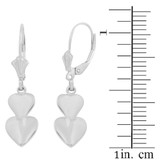 Sterling Silver Two Stacked Hearts Love Earring Set