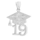 Sterling  Silver 2019 Graduation Cap Pendant Necklace