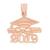Solid Rose Gold Class of 2019 Graduation Diploma & Cap Pendant Necklace