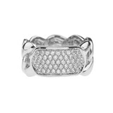 White Gold Personalized ID Cuban Link Ring With Cubic Zirconia
