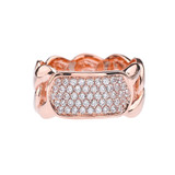 Rose Gold Personalized ID Cuban Link Ring With Cubic Zirconia