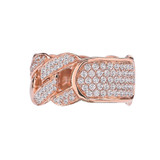 Rose Gold Personalized ID Cuban Link Fancy Ring With Cubic Zirconia Around