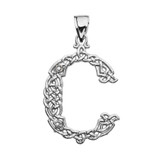 """""""C"""" Initial In Celtic Knot Pattern Sterling Silver Pendant Necklace"""