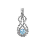 Sterling Silver Beaded 5 mm March Birthstone CZ Double Infinity Hidden Bail Pendant