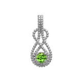 Sterling Silver Beaded 5 mm August Birthstone CZ Double Infinity Hidden Bail Pendant