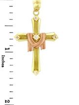 Yellow Gold Cross Pendant - The Lamb Two Tone Cross