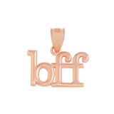 Solid Rose Gold BFF Best Friends Forever Pendant Necklace