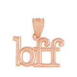 """Solid Rose Gold BFF Best Friends Forever Pendant Necklace (0.79"""" )"""