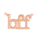 """Solid Rose  Gold BFF Best Friends Forever Sideways Pendant Necklace (0.79"""" )"""
