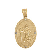 "Solid Yellow Gold Saint Christopher Medallion Diamond Pendant Necklace ( 1"")"