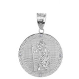 "Solid White Gold Saint Christopher Medallion Circle  Diamond Pendant Necklace ( 1.16"")"