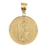 "Solid Yellow Gold Saint Christopher Medallion Circle Diamond Pendant Necklace ( 1"")"