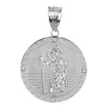 "Solid White Gold Saint Christopher Medallion Circle  Diamond Pendant Necklace ( 1"")"