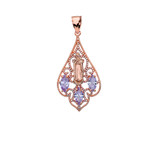 Rose Gold Our Lady of Guadalupe Filigree Tri-Tone Pendant Necklace With Lavender CZ