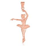 Rose Gold Ballerina Dancer Charm Pendant Necklace