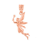 Rose Gold Angel Fairy Magic Wand Pendant Necklace