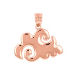 Rose Gold Swirling Cloud Pendant Necklace