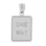 White Gold One Way Street Traffic Sign Pendant Necklace