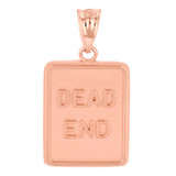 Rose Gold Dead End Traffic Sign Pendant Necklace