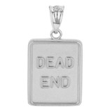 White Gold Dead End Traffic Sign Pendant Necklace