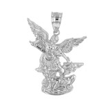 Sterling Silver St Michael The Archangel Pendant Necklace