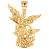 """Yellow Gold St Michael The Archangel Pendant Necklace (1.35"""")"""