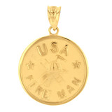 Yellow Gold USA Firefighter Medallion Pendant Necklace