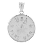 Sterling Silver USA Firefighter Medallion Pendant Necklace