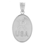 White Gold USA Firefighter Oval Medallion Pendant Necklace