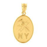Yellow Gold New York Firefighter Oval Medallion Pendant Necklace