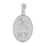White Gold New York Firefighter Oval Medallion Pendant Necklace