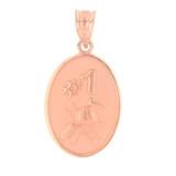 Rose Gold Fireman's Hat Helmet Number 1 Oval Medallion Pendant Necklace