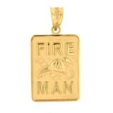 Yellow Gold Fire Man Emblem Pendant Necklace