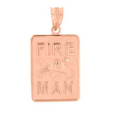 Rose Gold Fire Man Emblem Pendant Necklace