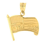 Yellow Gold Fire Man American Flag Pendant Necklace