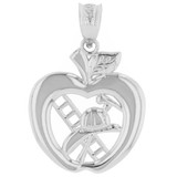 White Gold New York Fire Department Big Apple Firefighter Pendant Necklace